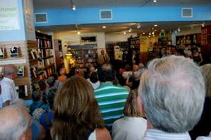 crowd in bookstore